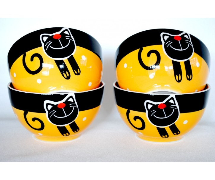 Sada 4x žlutá miska veselá kočka 13,5 x 7,5cm