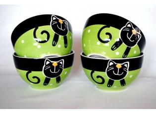 Sada 4x zelená miska veselá kočka 13,5 x 7,5cm