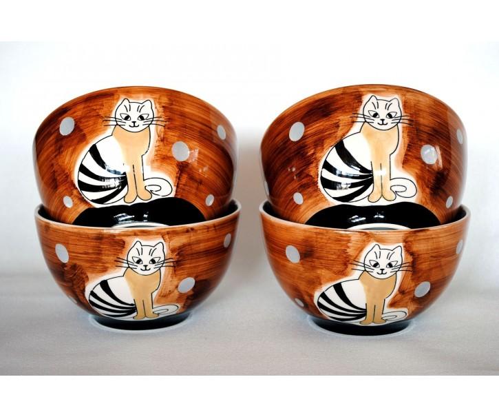 Sada 4x hnědá miska sedící kočka 13,5 x 7,5cm