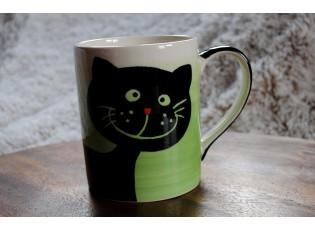Hrnek smějící se kočka 0.6L zelená