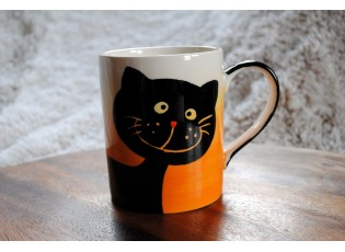 Hrnek smějící se kočka 0.6L oranžovo-žlutá