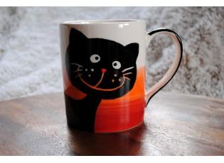 Hrnek smějící se kočka 0.6L červeno-oranžovo