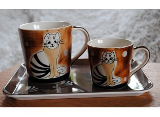 Sada 2 hnědé hrnečky sedící kočka + podnos sedící kočka