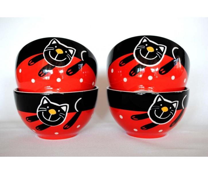 Sada 4x červená miska veselá kočka