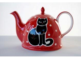 Červená konvička sedící kočka 1.8l