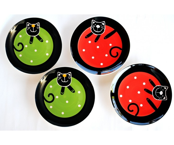 Sada 4x mělký talíř zelená/červená veselá kočka