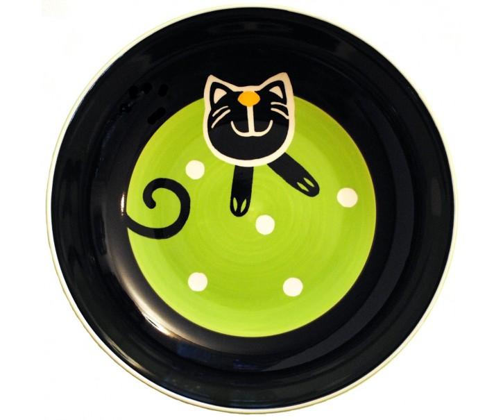 Hluboký talíř zelená veselá kočka