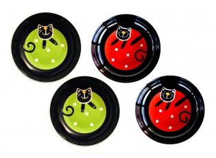 Sada 4x hluboký talíř zelená/červená veselá kočka - Ø 23 cm