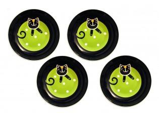 Sada 4x hluboký talíř zelená veselá kočka