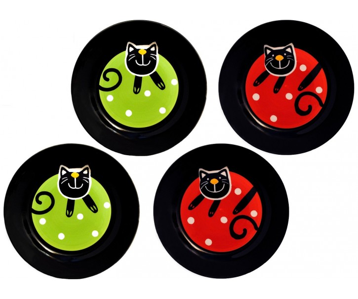 Sada 4x dezertní talíř zelená/červená veselá kočka - Ø 20cm