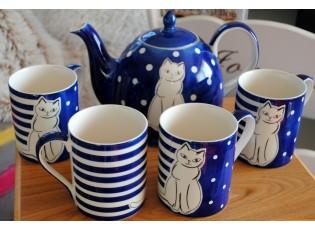 Modrá sada konvice + 4 hrnečky 0.4L sedící kočka