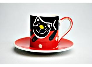 Mocca červený  hrneček s podšálkem veselá kočka - 0,09l
