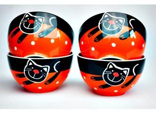 Sada 4x oranžová miska veselá kočka