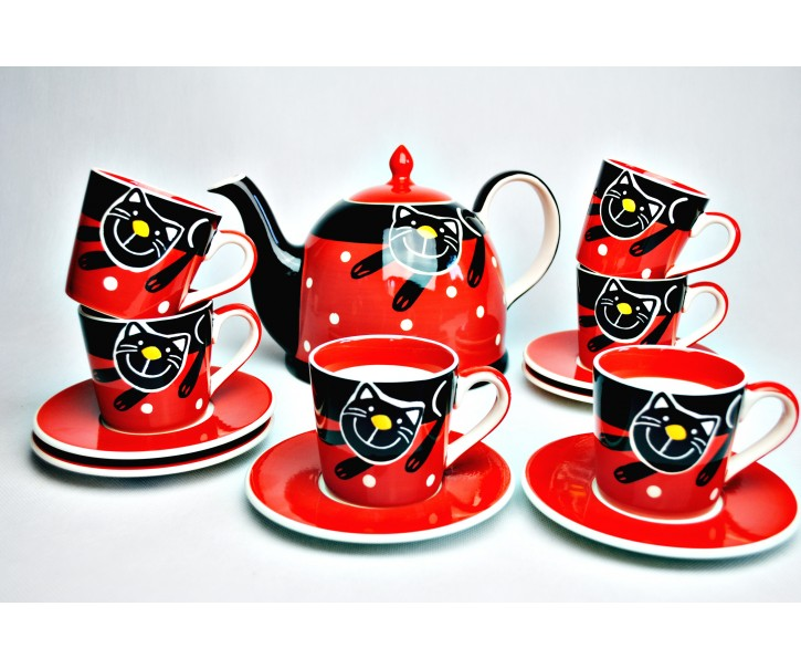 Sada konvička + 6x espresso červený  hrneček s podšálkem veselá kočka
