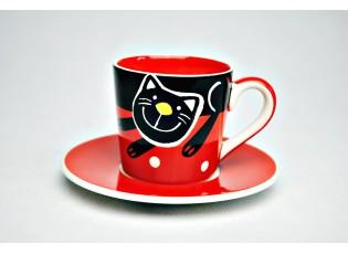 Espresso červený  hrneček s podšálkem veselá kočka