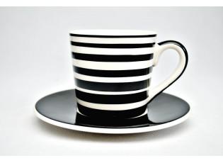 Bílý espresso  hrneček s proužky s podšálkem
