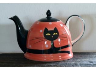 Červená konvička ležící kočka 1.8l puntík