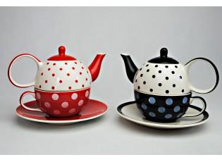 Sada červeno-bílá a černo-bílá konvička, šálek, podšálek puntík