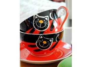 Sada hrneček s podšálkem + miska červenáveselá kočka