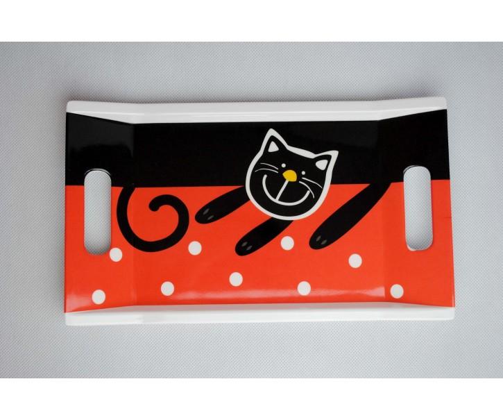 Podnos červená veselá kočka 31x18cm