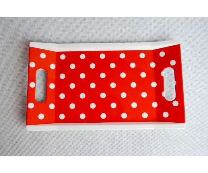 Podnos červený s puntíky 31x18cm