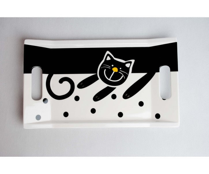 Podnos bílá veselá kočka 31x18cm