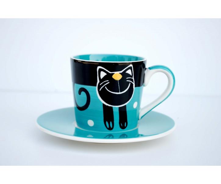 Espresso modrý hrneček s podšálkem Veselá kočka