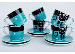 Sada 6x espresso modrý hrneček s podšálkem Veselá kočka