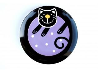 Talíř dezertní fialová veselá kočka - Ø 20cm