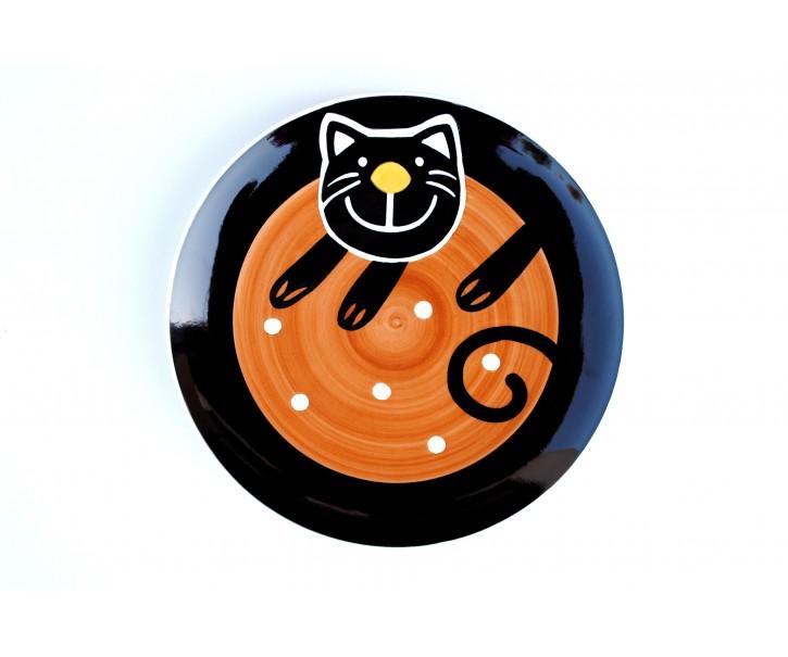 Talíř dezertní hnědá veselá kočka - Ø 20cm