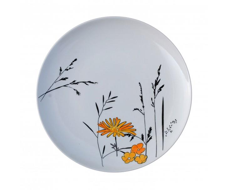 Bílý dezertní talířek Louka žluté květy - Ø 20cm
