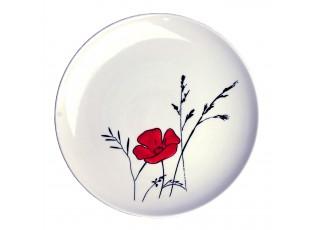 Bílý dezertní talířek Louka vlčí mák - Ø 20cm