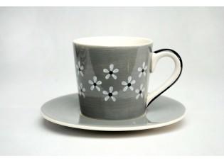 Hrneček s pošálkem  šedý Snow flower 0,2l
