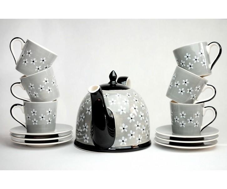 Sada šedá konvička + 6x šedý hrneček s podšálkem Snow flower