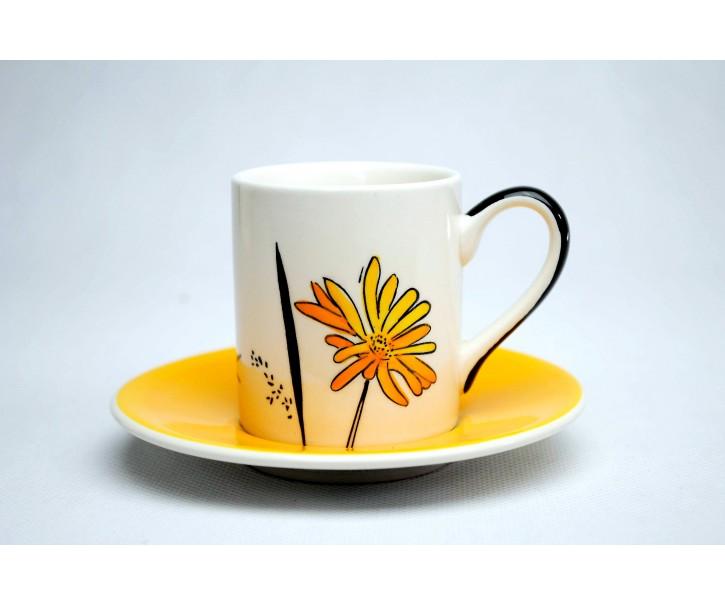 Hrneček s podšálkem Louka žluté květy 0,2l