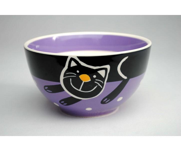 Miska fialová veselá kočka - 13.5cm
