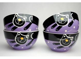 Sada 4x miska fialová veselá kočka - 13.5cm