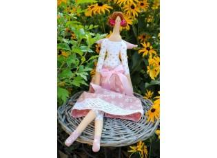 Andělka růžová s krajkou - 63cm