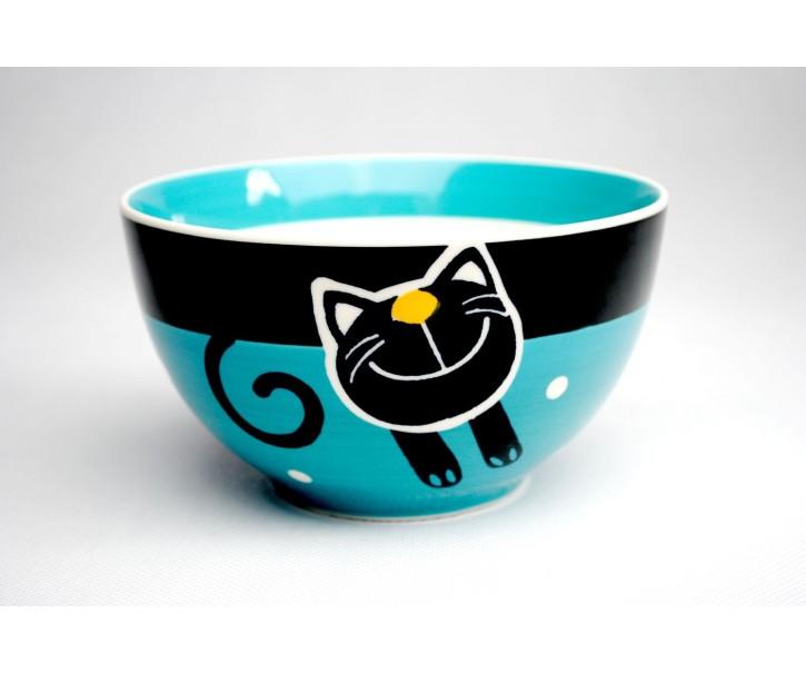 Modrá miska veselá kočka - 13,5 x 7,5cm