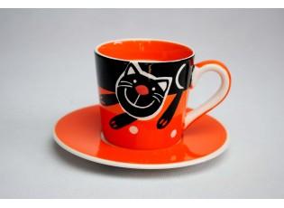 Oranžový hrneček s podšálkem Veselá kočka 0,2l