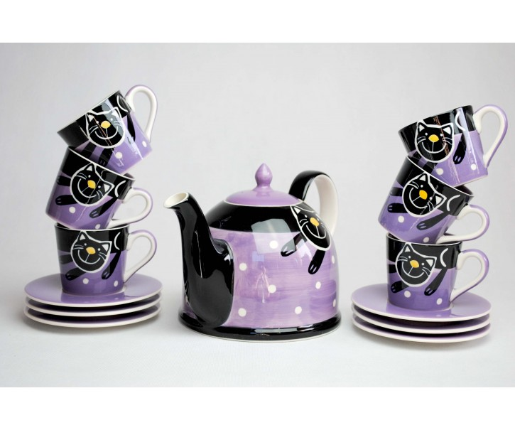 Sada konvička +  6x fialový hrneček s podšálkem Veselá kočka 0,2l