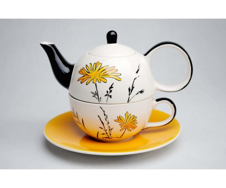 Konvička, šálek, podšálek Louka žluté květy