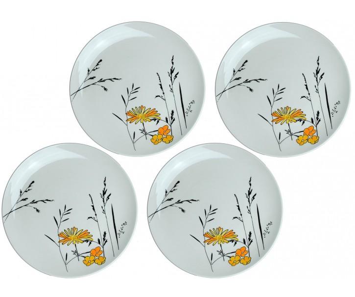 Sada 4x mělký talíř Louka žluté květy - Ø 27cm