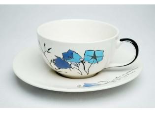 Bílý šálek s podšálkem Louka modré zvonky