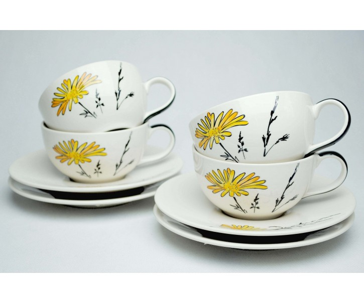 Sada 4x bílý šálek s podšálkem Louka žluté květy