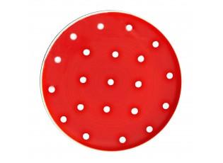 Červený dzertní talířek s puntíky - Ø 20cm