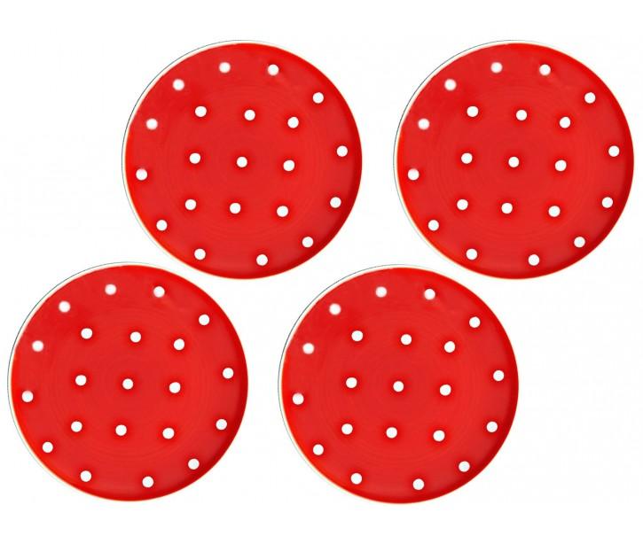 Sada 4x červený dezertní talířek s puntíky - Ø 20cm