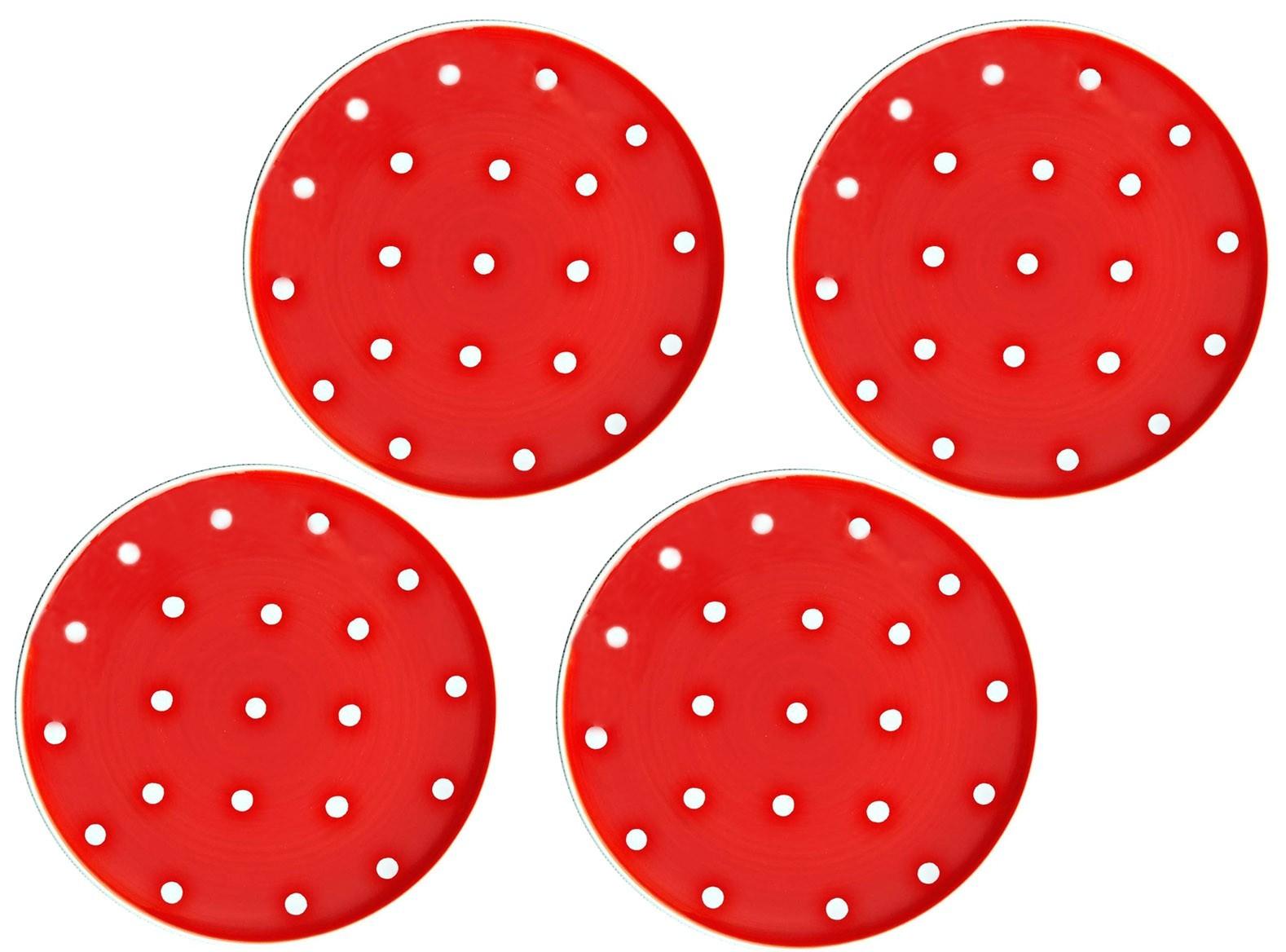 bc0be2d0c914 Sada 4x červený dezertní talířek s puntíky - Ø 20cm - Ručně malované