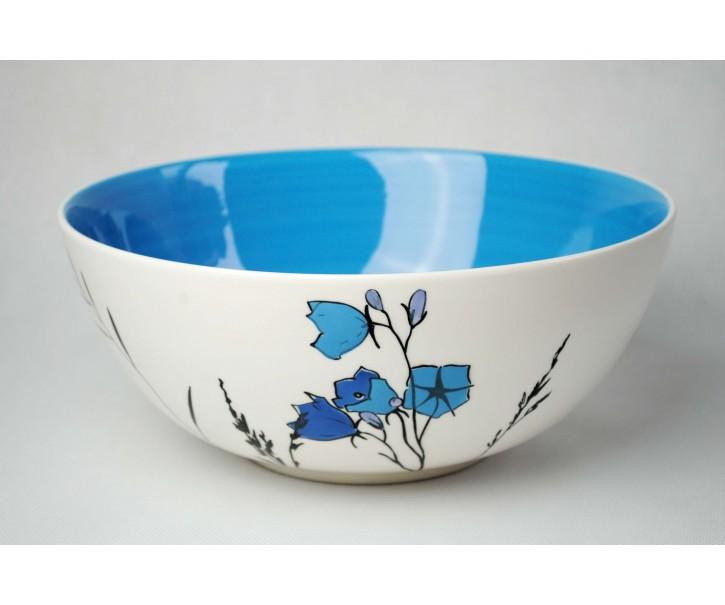 Salátová mísa Louka modré zvonky 3L modrý vnitřek