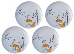 Sada 4x bílý dezertní talířek Louka žluté květy - Ø 20cm